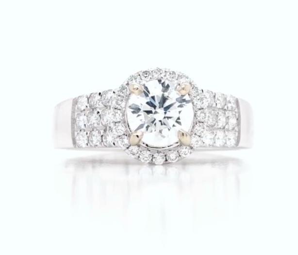 New: 18k White Gold 1.18ct Diamond Engagement Ring Appraised $6420
