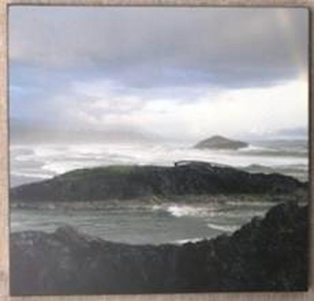 "Coastal Scene Print on Board Scratch Resistant Surface 12""x12"" - like new"