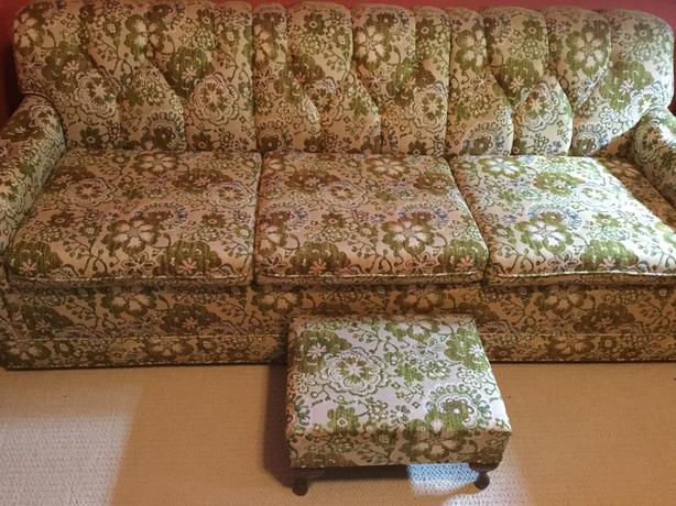 """Retro 80""""s sofa bed/ couch with foot rest"""