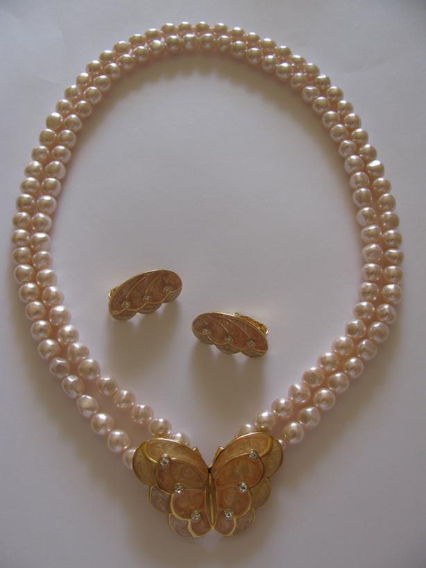 Vntg Designer Signed for Avon Pink Pearl Beaded Necklace & ER Set