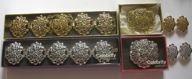 Chunky Bracelet Brooch Pin/Pendant Earrings Set Choose Gold or Silver
