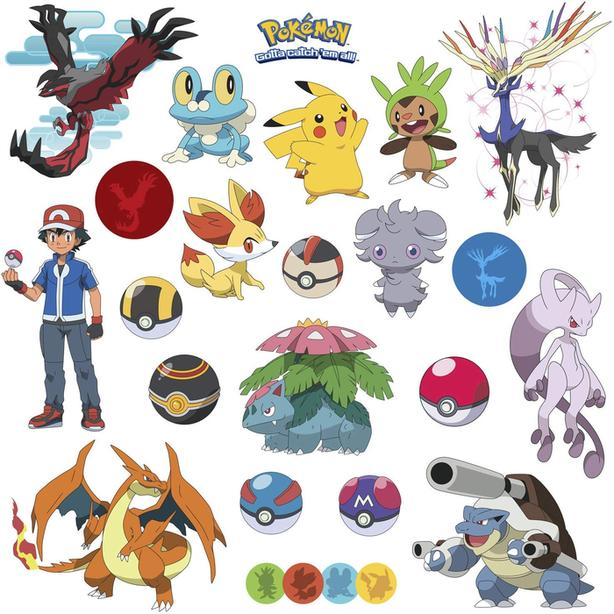New RoomMates RMK2625SCS XY Pokemon Peel and Stick Wall Decal Set - $20