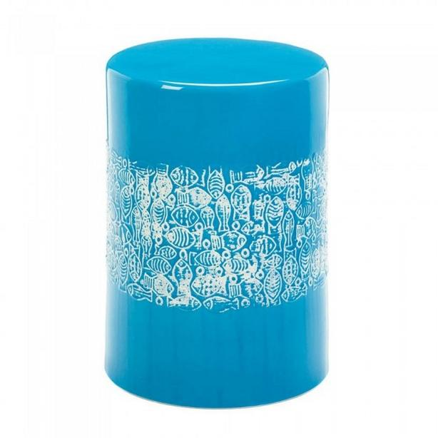 Vibrant Blue Ceramic Stool Seat Accent Side Table Plant Stand with Fish Motif