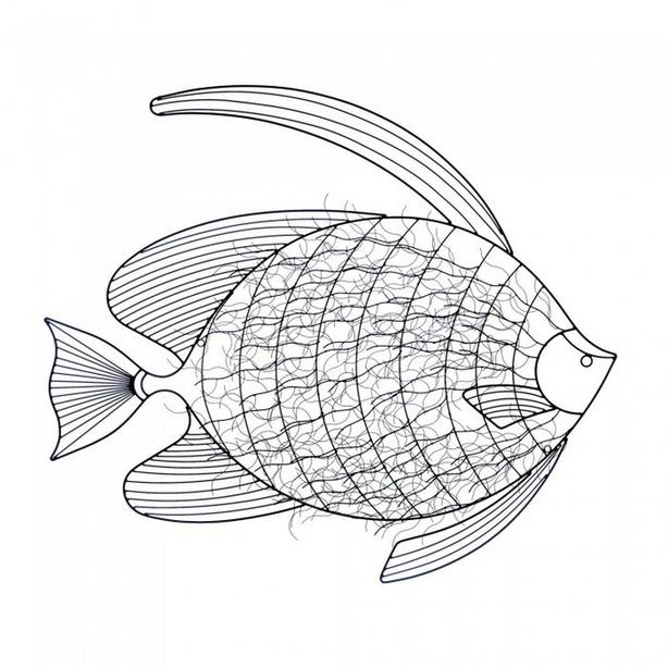 Large FISH Abstract Geometric Metal Wall Art Sculpture Brand New