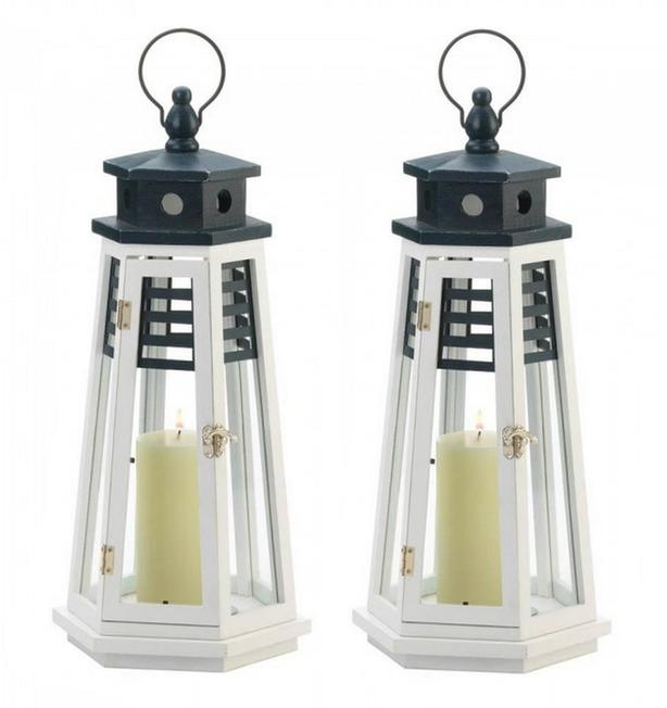 "19"" Large White Wood Lighthouse Candle Lantern Glass Panes Navy Blue Top 2Lot"