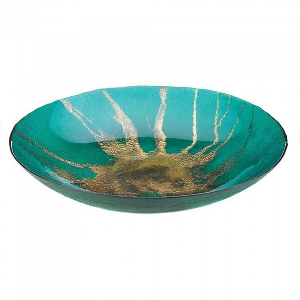 Gold Metallic Abstract Celestial Starburst Decorative Bowl Dish Plate with Stand