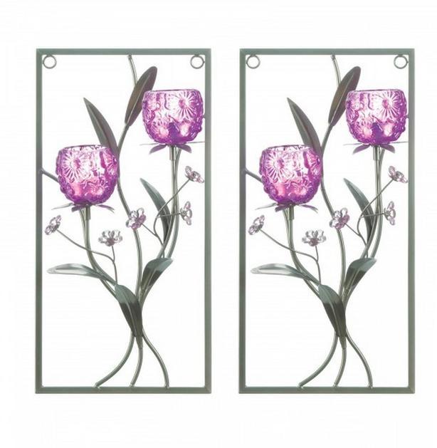 Pink Magenta Framed Flower Candleholder Wall Sconce Set of 2 NEW