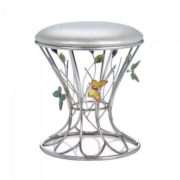 Silver Metal Round Footstool with Padded Seat & BUTTERFLY Accents NEW