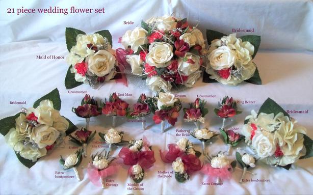 Brand New 21 Piece Silk Wedding Flower Set