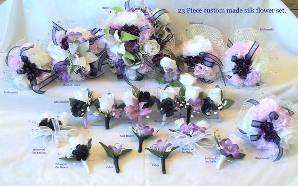 Brand New 23 Piece Silk Wedding Flower Package