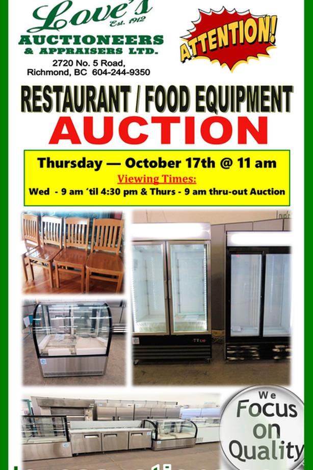 RESTAURANT FOOD INDUSTRIAL EQUIPMENT AUCTION - THURS. OCT 17th @ 11 am