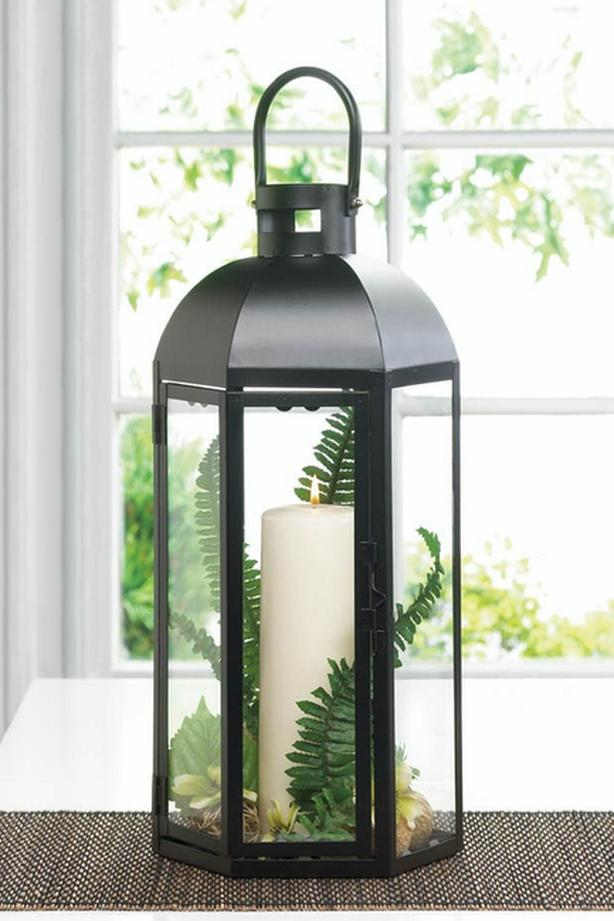 """Tall 17"""" Black Hexagon Candle Lantern with Dome Top & Large Handle 8 Lot"""