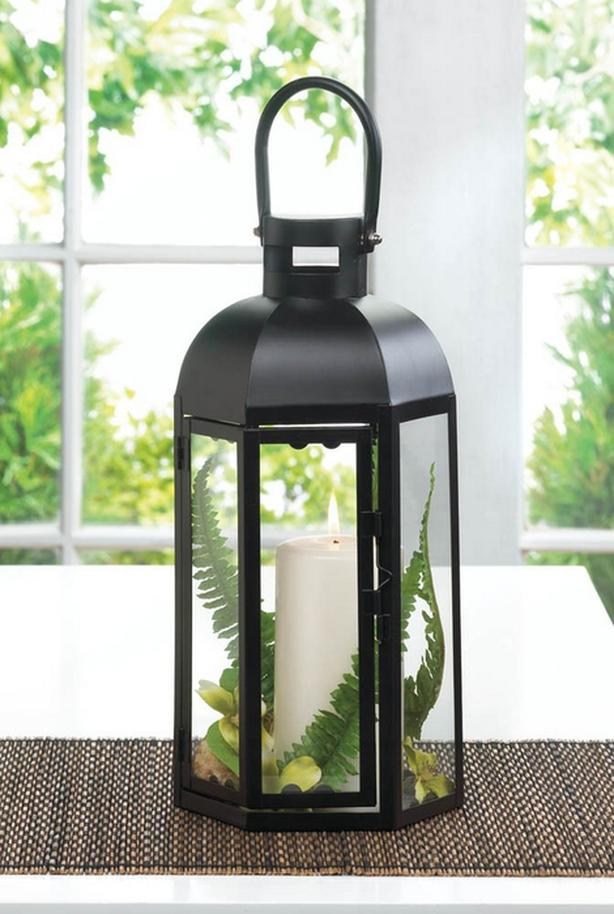 "13"" Black Hexagon Candle Lantern with Dome Top & Large Handle 12 Lot NEW"