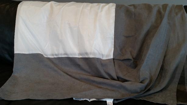 Queen size bed skirt in grey suede