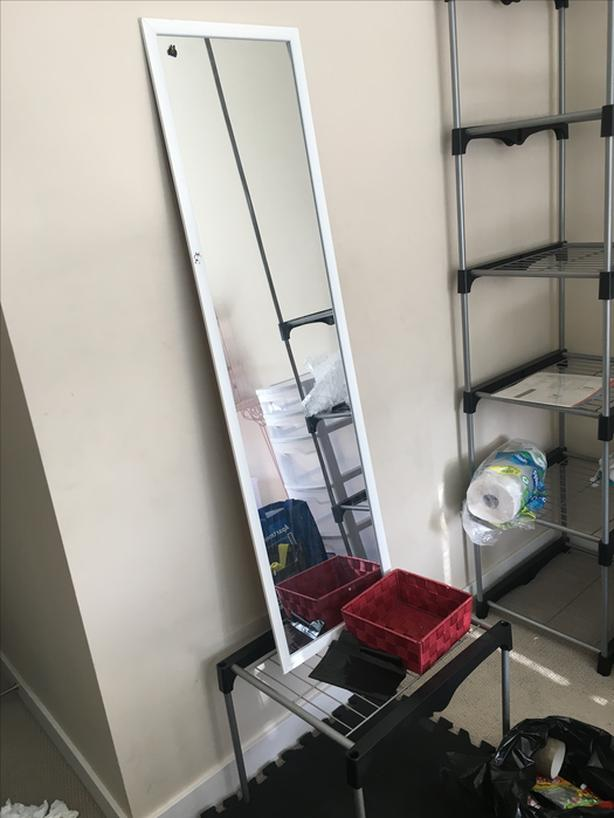 storage shelves (plus a standing mirror for free)