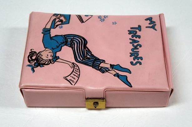 """Vintage 1950s Ponytail Pink Vinyl """"My Treasures"""" Box"""