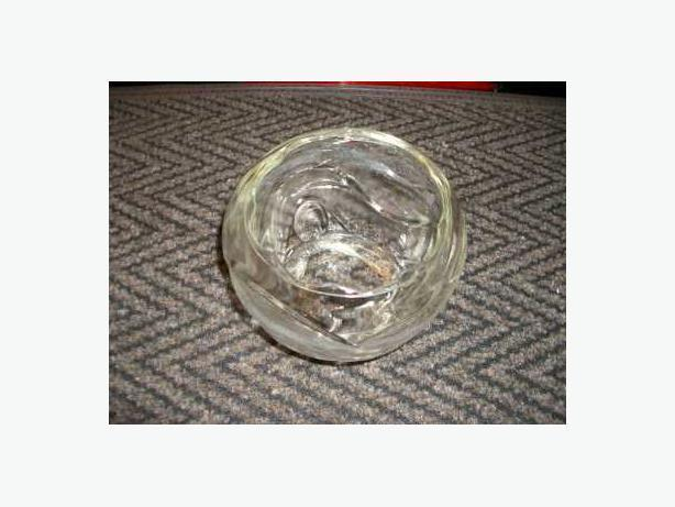Glass Vase:  7 inch diameter, 5.5 inches high