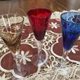 Set of 3 Mini Stained Champagne Glasses