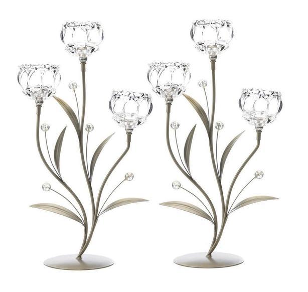 Crystal-Look Glass Triple Flower Candleholder Set of 2 Brand New