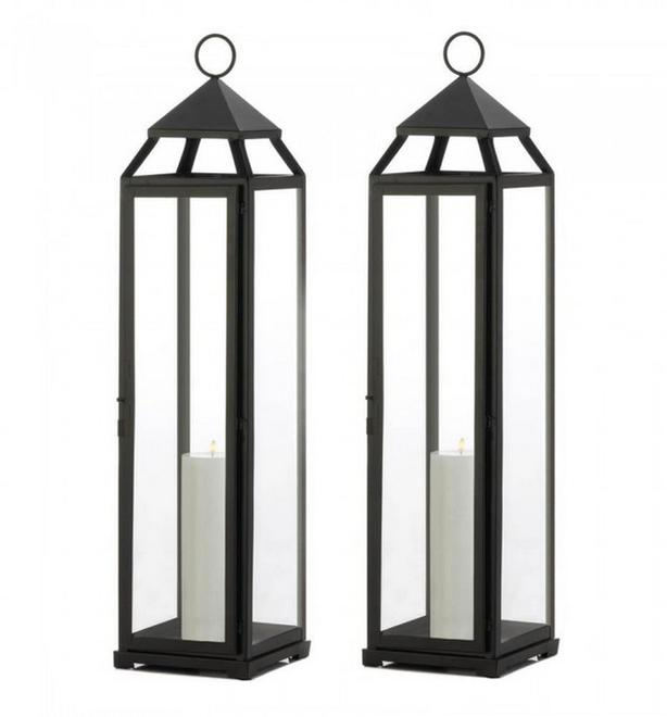 "Large Black Metal Candle Lantern Almost 30"" Tall with Clear Glass Panels 2 Lot"