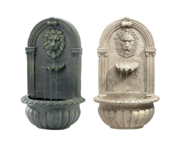 Indoor Outdoor Lion Head Wall Fountain with Pump Moss Green Faux Stone Choice