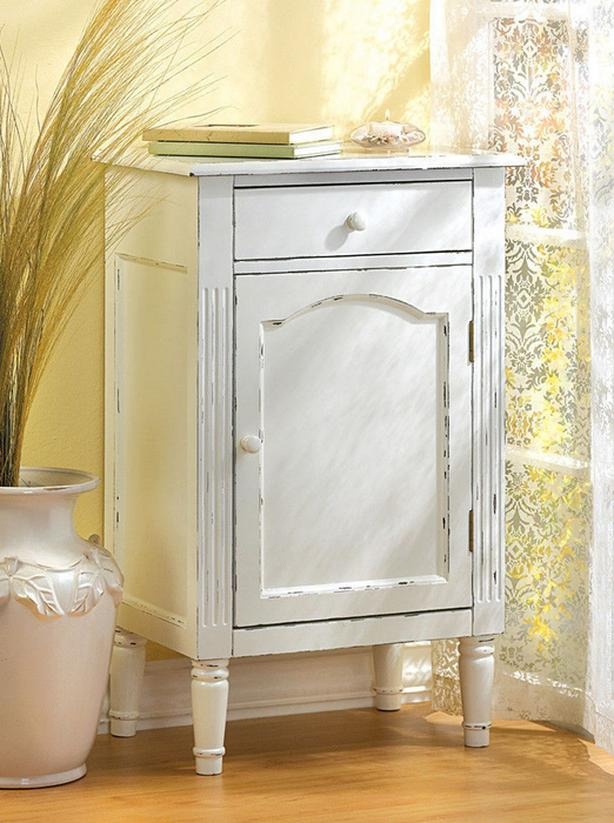 Distressed White Wood Side End Table Nightstand Storage Cabinet Vintage-Look NEW