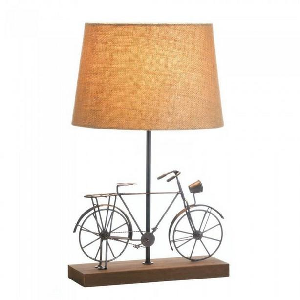 Whimsical Old-Fashion Bicycle Table Lamp with Wood Base & Fabric Shade New