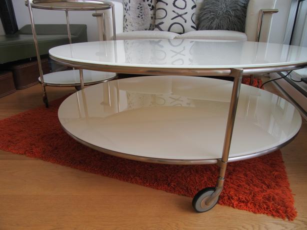 Ikea Strind White Glass Coffee Amp End Table W Wheels Victoria City Victoria Mobile