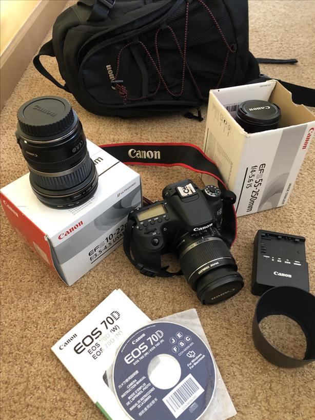 REDUCED! Canon 70D complete with 3 lenses, sling pack & more