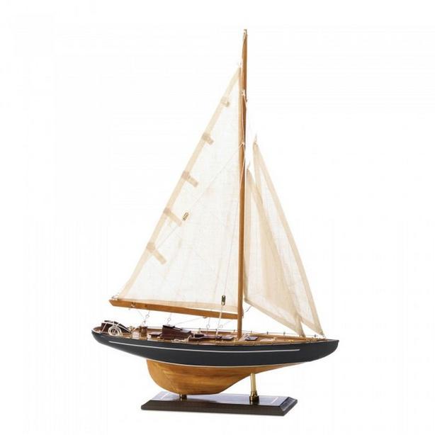 Sailing Boat Ship Ornament Statue Art Glass Wood 2 Styles Mixed NEW Nautical