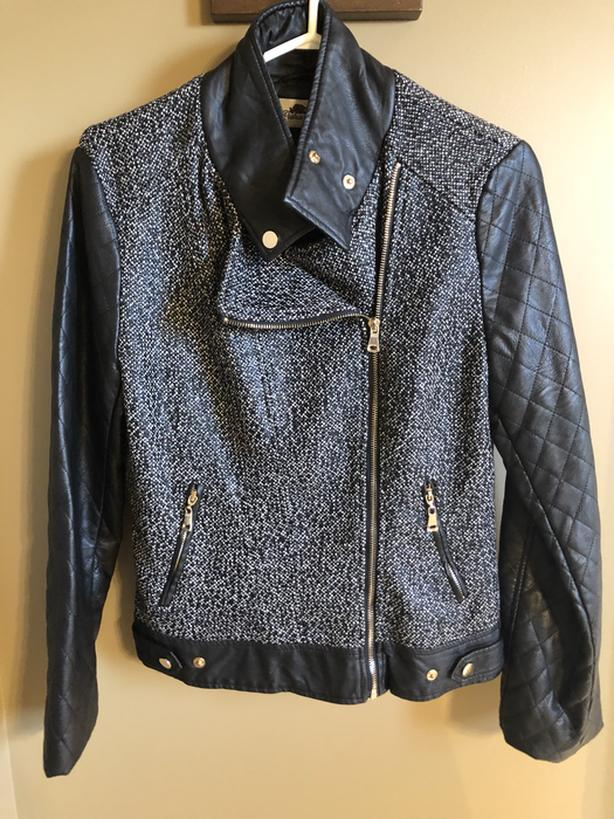 Faux Leather & Tweed Jacket