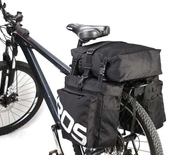 Bicycle Bike Rear Rack Water Resistant Double Pannier Bag - 37L - Blk