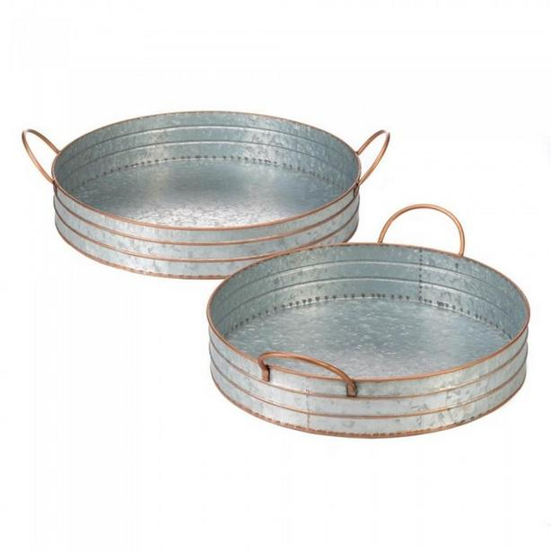 2PC Rustic Metal Serving Tray Sets Lg & Sm Round Oval Choose Any 2 Sets 4PC New