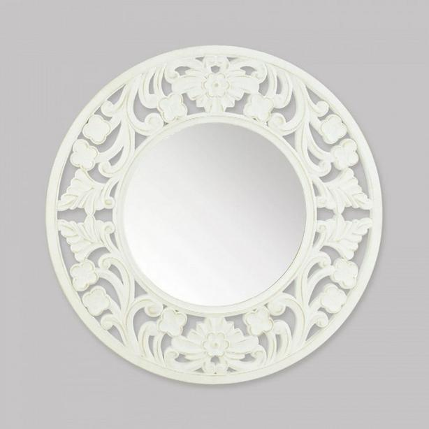 Round Carved Wood Wall Mirror Brand New White