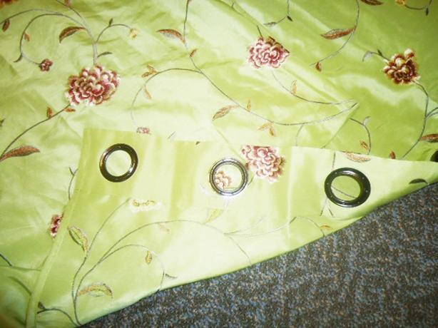 2 Curtain Panels - Beautiful Lime Green Drapes & Floral Motif