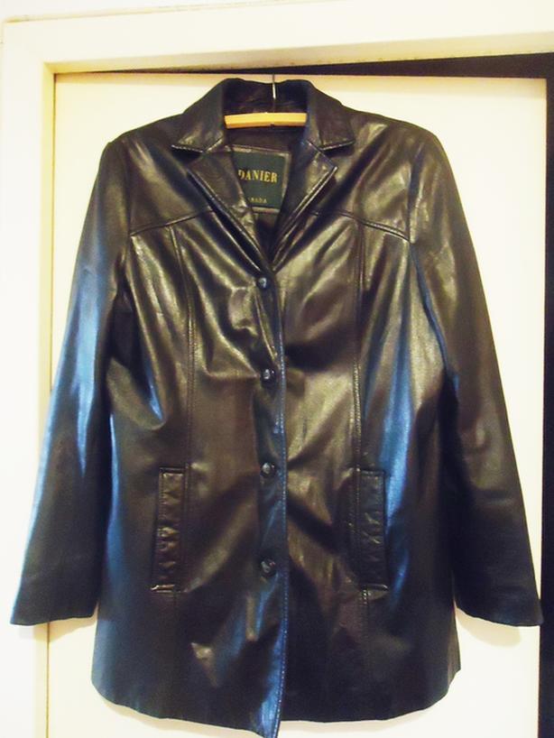 2 Stunning Black Leather Women's 3/4 Coats - Size 12-14 - NEW