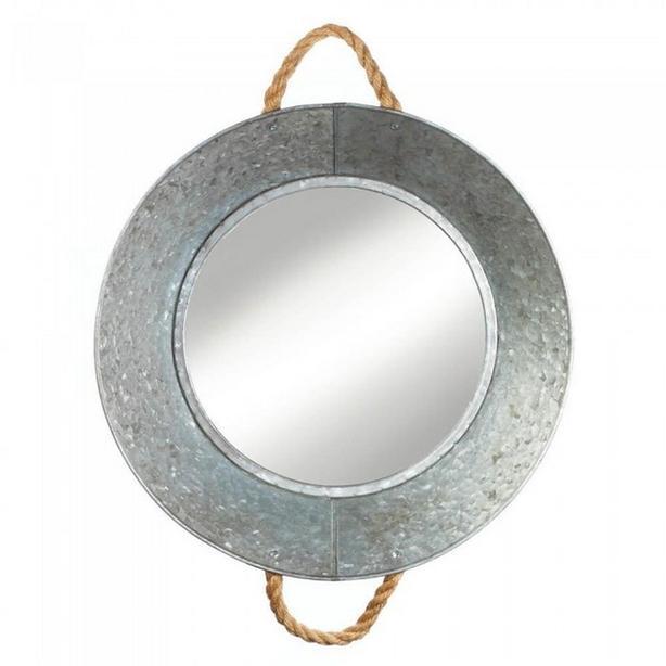Rustic Old Farmhouse Tin Metal Basin Hanging Round Wall Mirror New