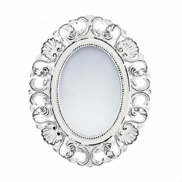 Distressed Off-White Oval Wall Mirror Scalloped Detailing Brand New