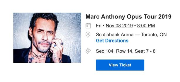 AMAZING Marc Anthony Tickets - Section 104 At Face Value!!!!