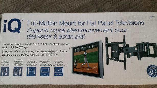 Full motion wall mount for flat screen