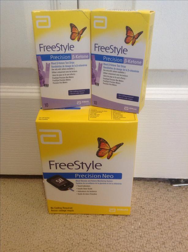 BNIB Blood Glucose & Ketone Monitoring System + 2 Boxes Test Strips