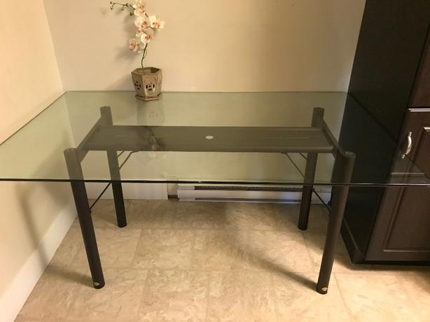 Classic glass dining room set and end tables