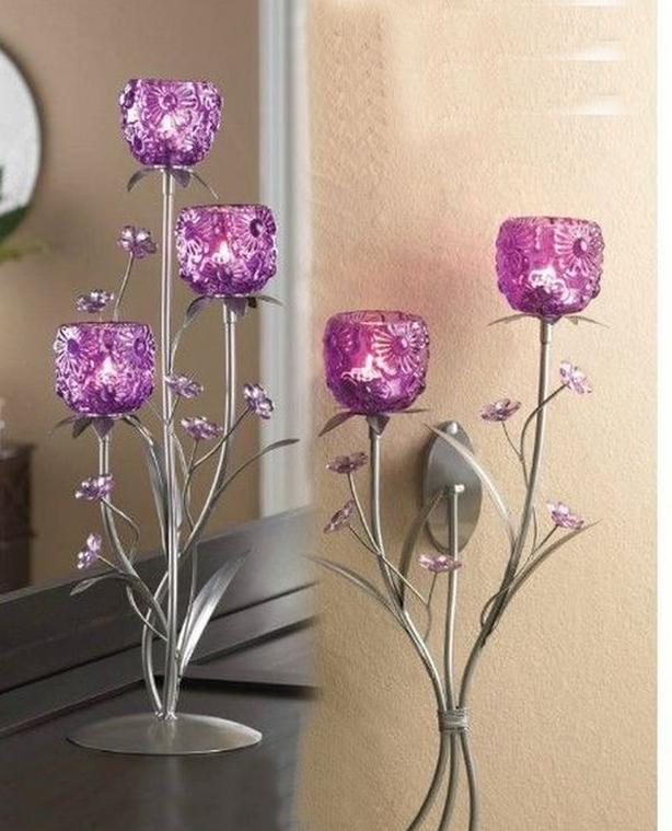 Bright Pink Flower Candleholder Centerpiece Stand & Wall Sconce 2PC Mixed Lot