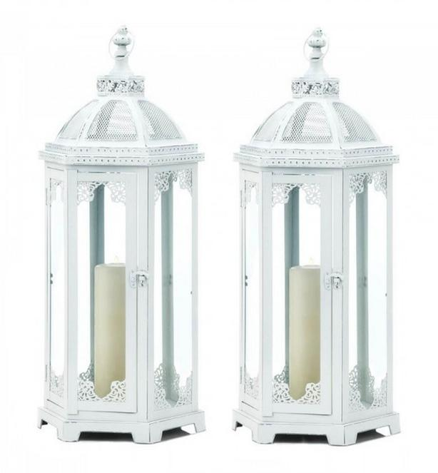 "Large Rustic Vintage-Style Distressed White Metal Candle Lantern 25"" Tall 2 Lot"