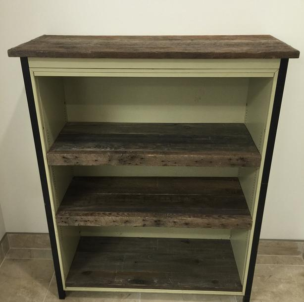Up-Cycled Metal MCM Shelf With Reclaimed Barn Wood