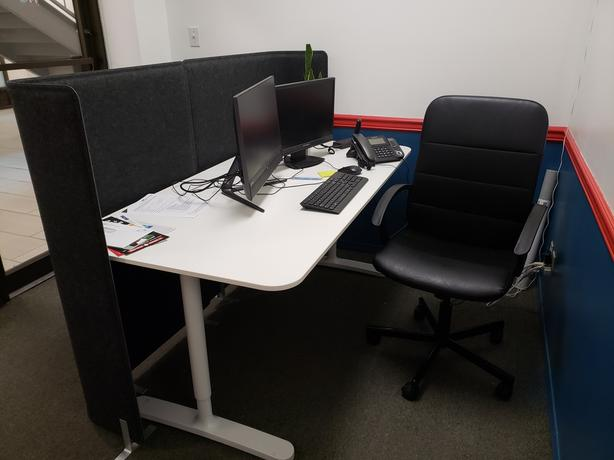 Just one year old office furniture is available for sale.
