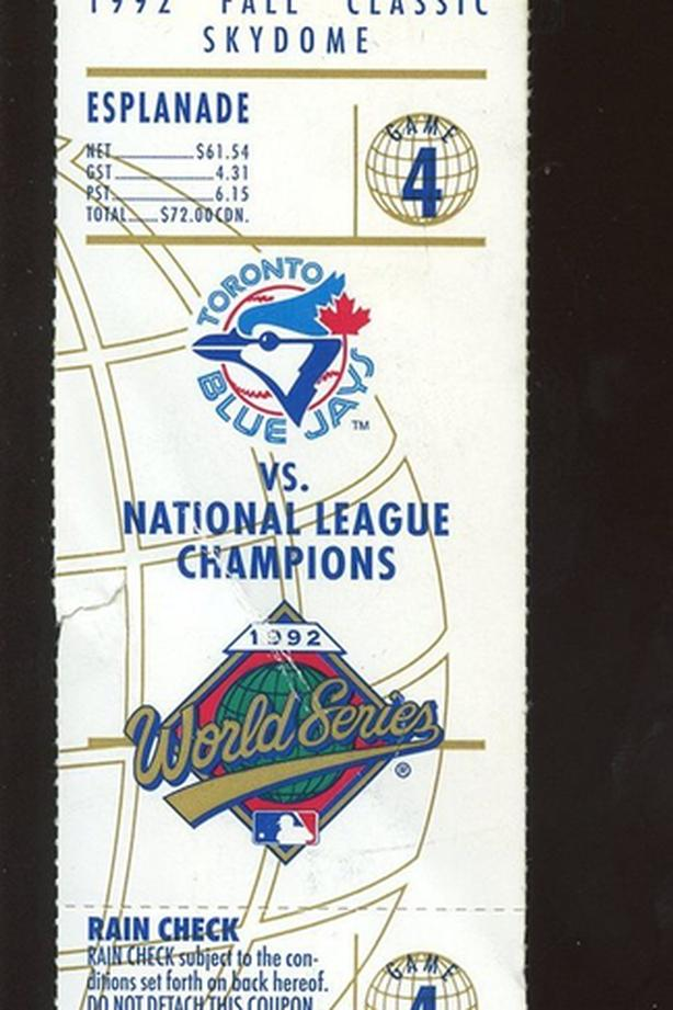 1992 and 1993 Toronto Blue Jay's World Series ticket stubs