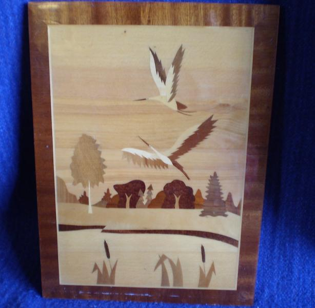 Vintage Russian Marquetry Flying Herons Marshland