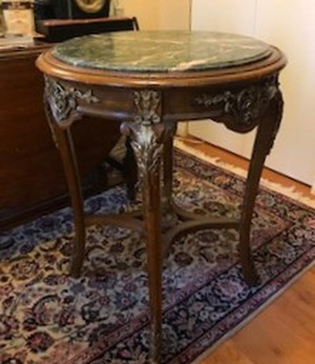 """Egyptian Revival"" Round Table, Marble top and Brass embellishments, very nice!!"