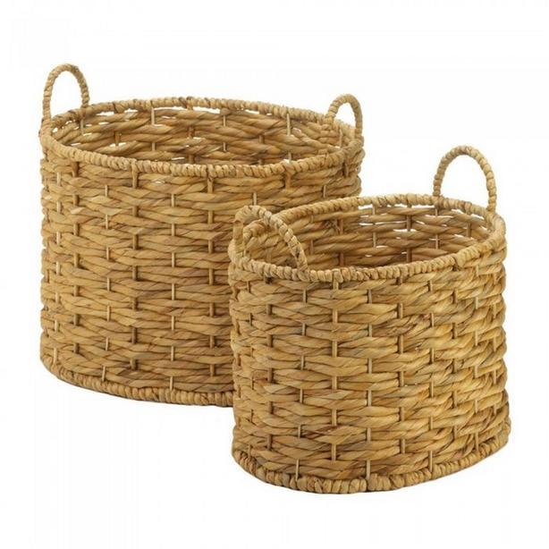 Weaved Natural Hyacinth Straw Basket Sets 2 Styles Mixed 4PC New